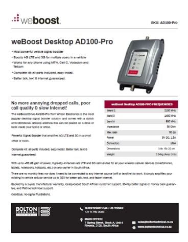 AD100-Pro Bolton Technical Spec Sheet