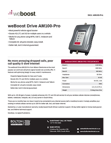 Am100-Pro Bolton Technical Spec Sheet