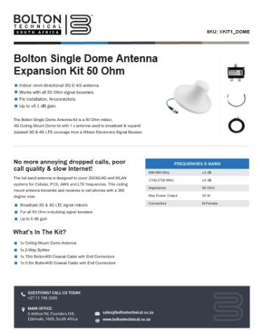 Bolton Single Dome Expansion Spec Sheet