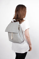 Marazion blue canvas cotton stripes backpack