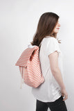 Marazion red canvas cotton stripes backpack