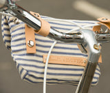 Handlebar bag stripes cotton leather bike cycling shoulder bag