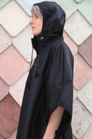 rain cycling cape poncho waterproof bike london urban oilcloth wax waxed cotton reflective be seen cycling lights rainproof oilcloth