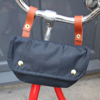 Cara wax cotton handlebar cycling bag navy