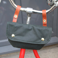 Cara wax cotton handlebar cycling bag forest green