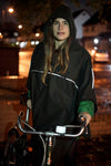 rain cycling cape poncho waterproof bike london urban oilcloth wax waxed cotton reflective be seen cycling lights