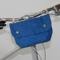 Cara wax cotton handlebar cycling bag blue
