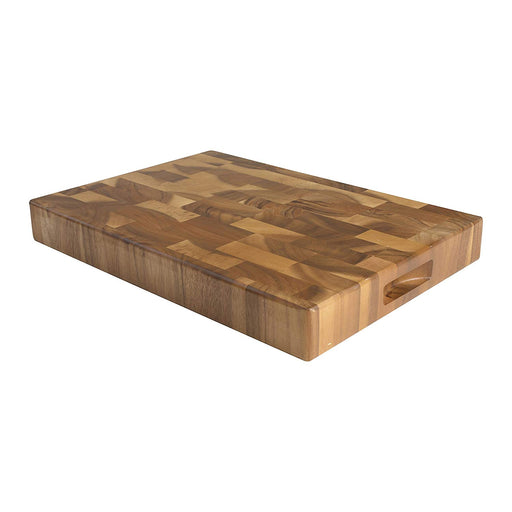 T&G Tuscany Rectangular End Grain Chopping Board with Finger Grooves in Acacia, Large, 45 x 30 x 4 cm