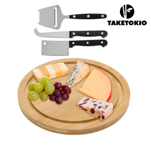 TakeTokio Bamboo Cheese Board and Knife Set (4 pieces)