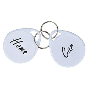 Uniclife Plastic Key Tags with Split Ring Label 50 Pcs, White