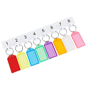 Uniclife Key Tag Rack Holder with 8 Color Tags, White