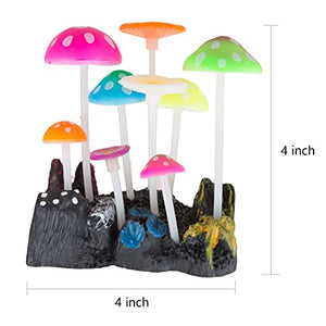 UnicLife Aquarium Decoration Glowing Effect Artificial Mushroom-Size