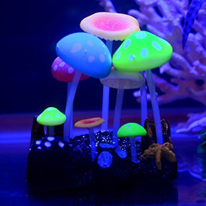 UnicLife Aquarium Decoration Glowing Effect Artificial Mushroom-Effect under blue light