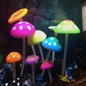 UnicLife Aquarium Decoration Glowing Effect Artificial Mushroom-Main image
