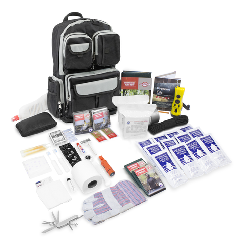 This is a 1 person Emergency survival kit. This should be the first item you grab on your way out your door.It is small enough to fit in your car. Or light enough to put on your back for long travel on foot.