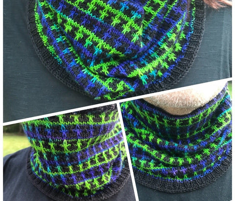 Modified Windowpane Slip Stitch Cowl