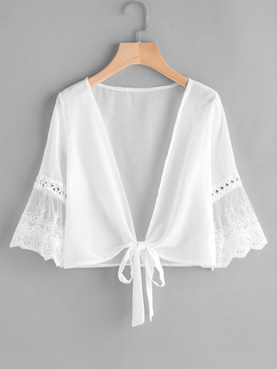 Embroidered Mesh Fluted Self Tie Chiffon