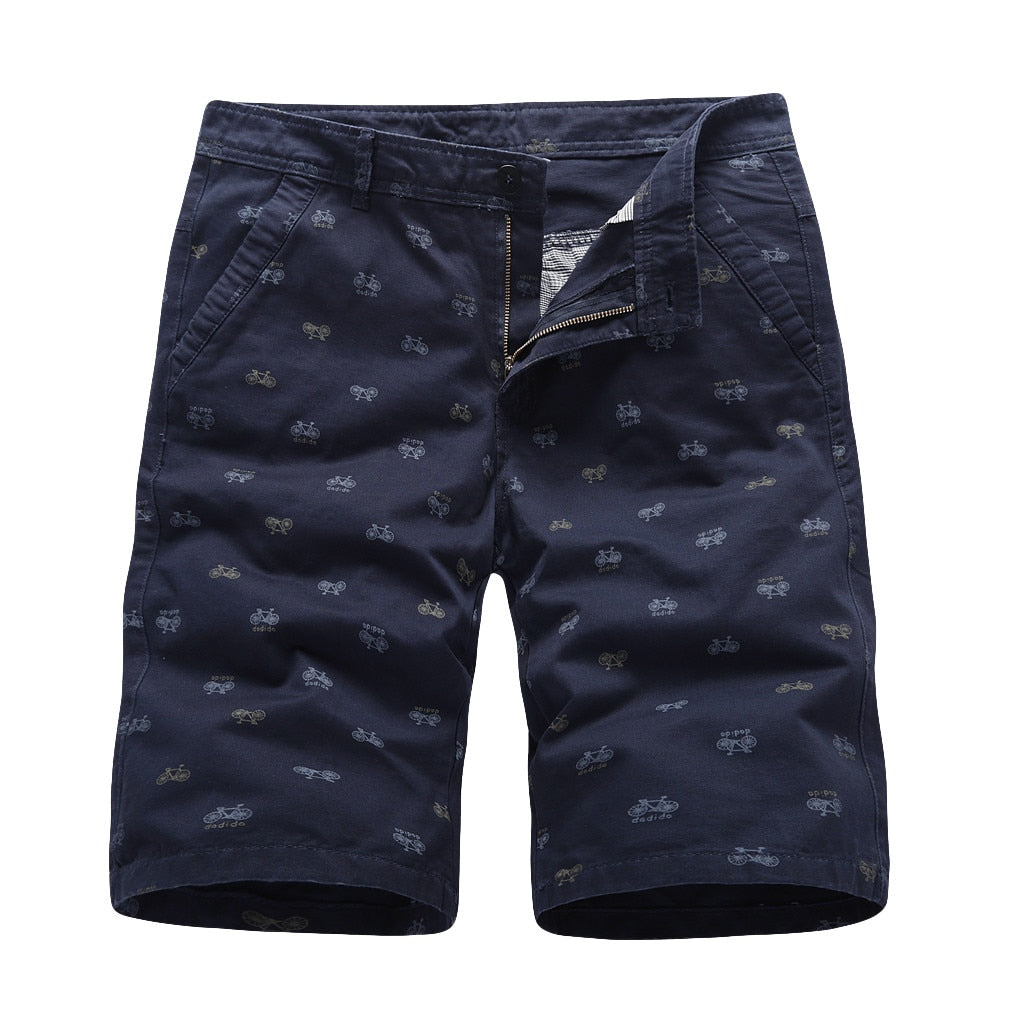 Breathable Elastic Shorts With Bike Pattern