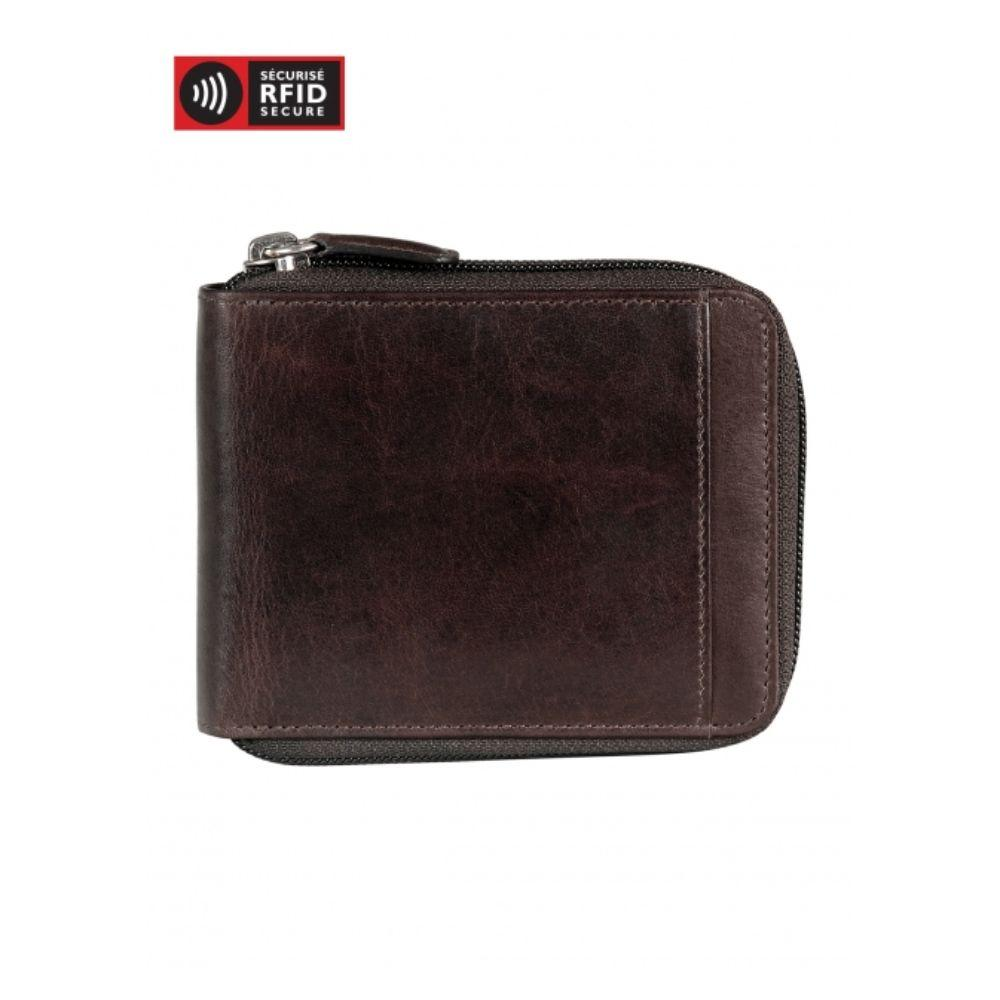 Men's Zippered Wallet with Removable Passcase (RFID Secure)