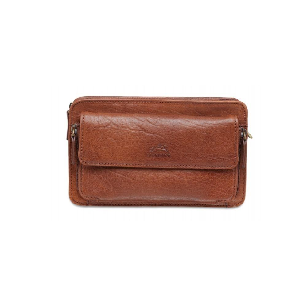 "Vegetable Tanned Top Grain Buffalo Leather Front organizer Unisex Bag, Cognac, 9"" x 3"" x 4.5"""