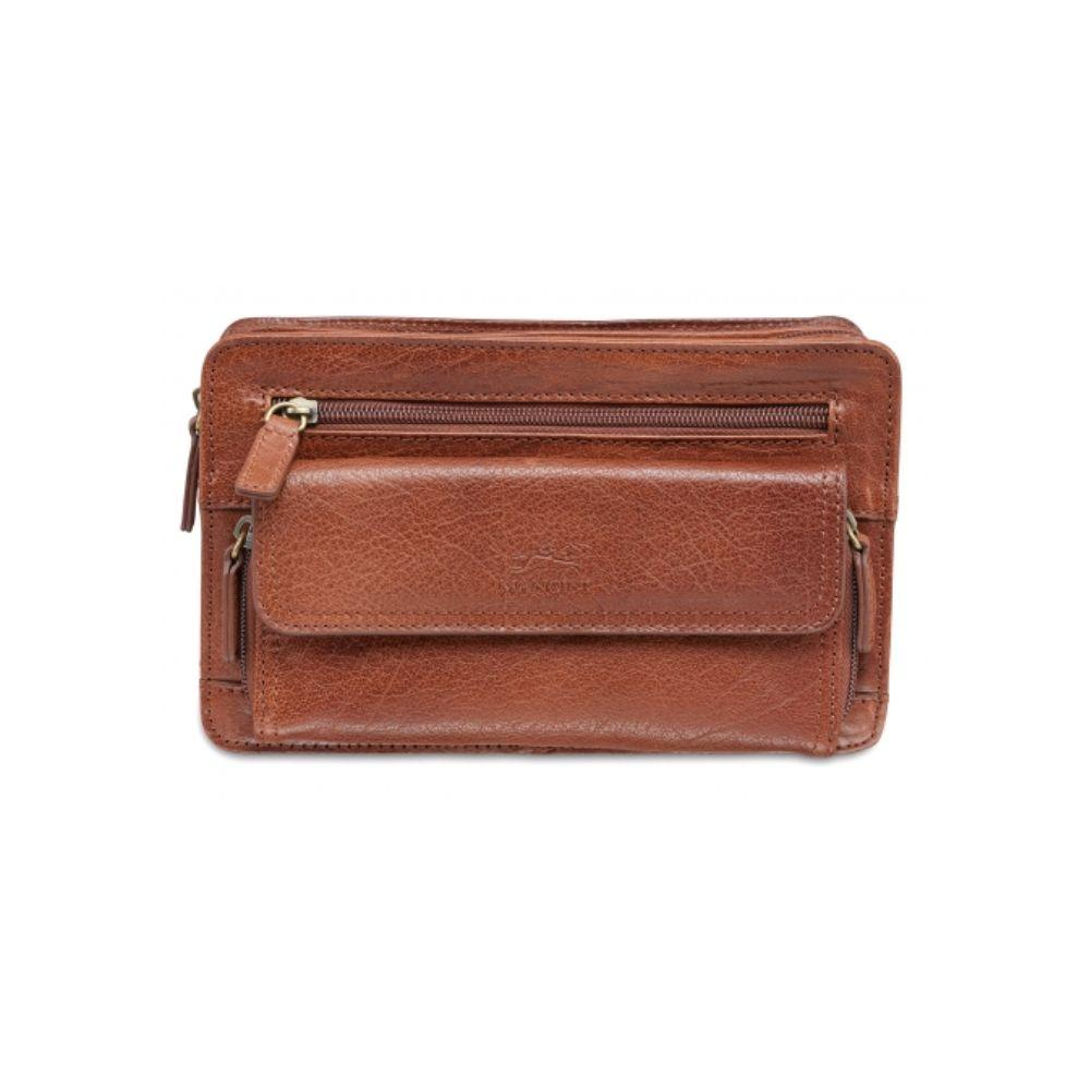 "Vegetable Tanned Top Grain Buffalo Leather Unisex Bag With Zippered Organizer, Cognac, 12"" x 3.5"" x 8.25"""