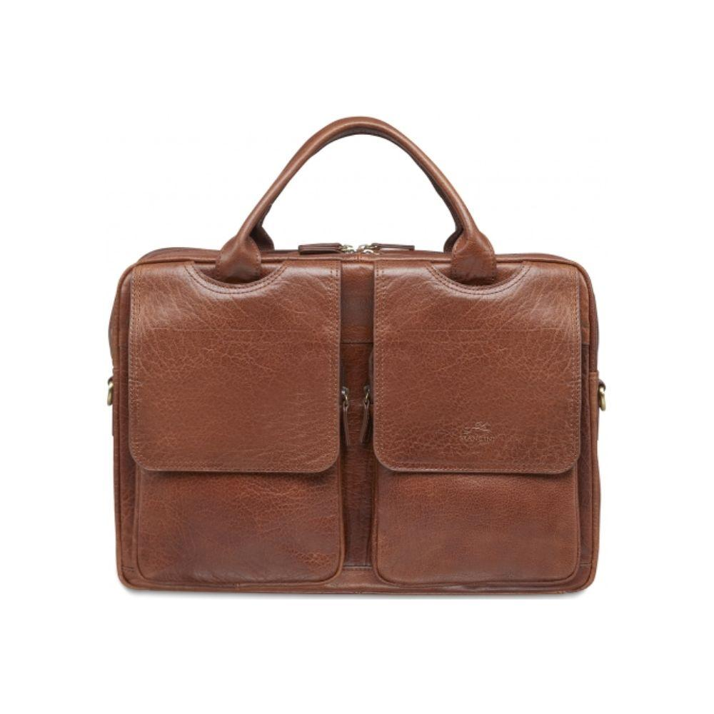 "Vegetable Tanned Top Grain Buffalo Leather Double Compartment Briefcase for 15.6"" Laptop / Tablet, 15.75"" x 4.25"" x 11.5"""
