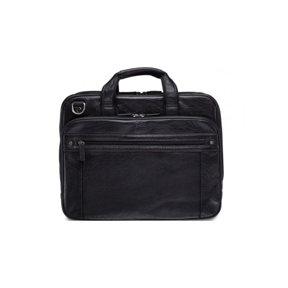 "Vegetable Tanned Top Grain Buffalo Leather Double Compartment Briefcase for 15.6"" Laptop / Tablet, 16.25"" x 4"" x 12"""