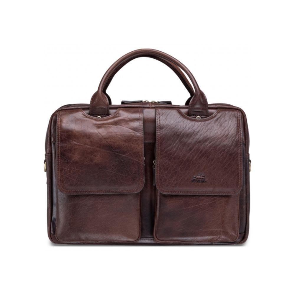 Vegetable Tanned Top Grain Buffalo Leather Double Compartment Briefcase for 15.6