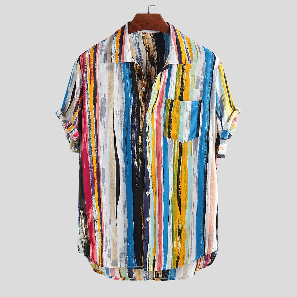 Multi Color Short Sleeve Shirt with Chest Pocket