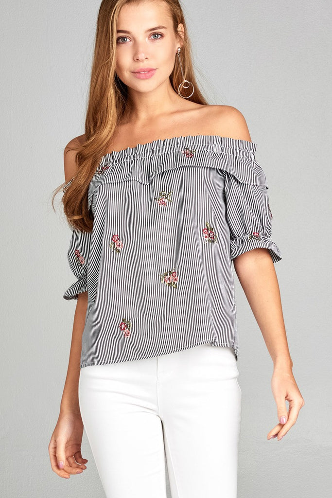 Short Sleeve Off Shoulder With Ruffle Stripes