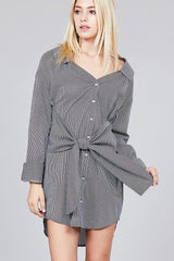 Long Sleeve With Waist Tie Striped Dress
