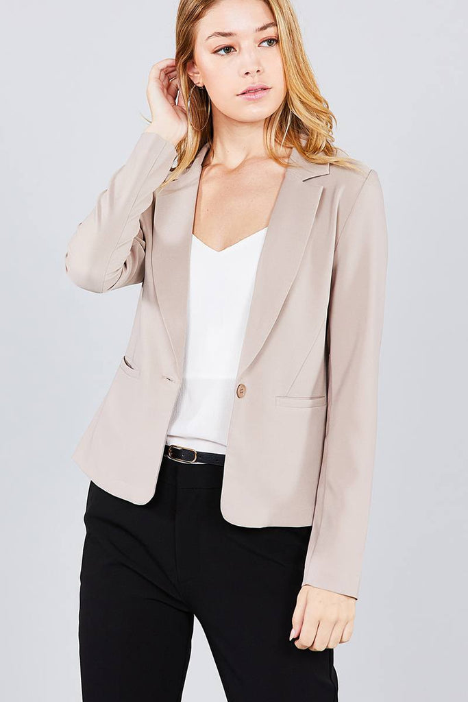Long Sleeve Notched Collar Princess Seam Jacket