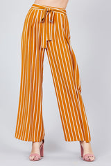 Stripe Print Waist Self Tie Bow Pants