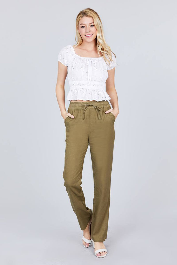 Elastic Waist Linen Pants With Drawstring