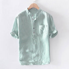 Stripe Cotton Short Sleeve Button Pocket Shirt