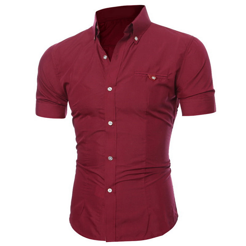 Slim Short Sleeve Dress Shirt Casual