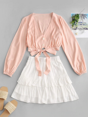 Knotted Long Sleeve Layered Overlay Two Piece Set - Rose