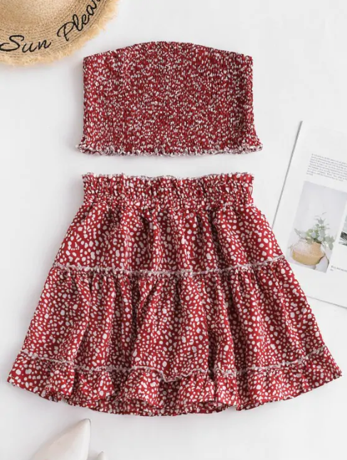 Printed Smocked Bandeau Top And Skirt Set - Cherry Red