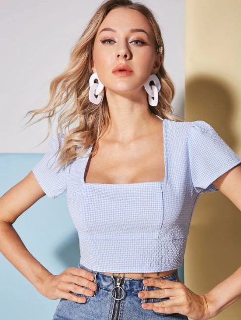 Square Neck Gingham Print Crop Top - Blue Gray