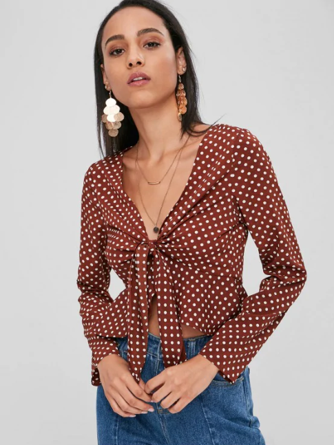 Polka Dot Knot Peplum Blouse - Blood Red