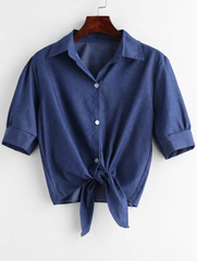 Button Up Knotted Hem Shirt - Denim Blue