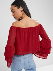 Off Shoulder Flare Sleeve Tiered Top - Love Red
