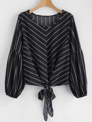 Self-tie Striped Blouse - Black