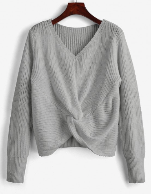 V Neck Twist Front Pullover Sweater