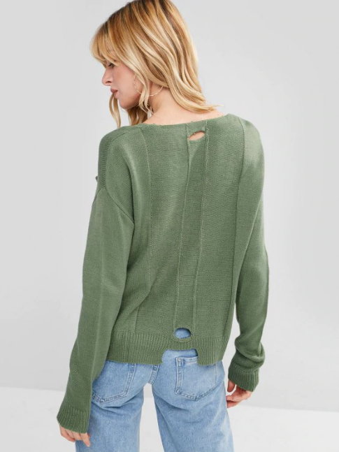 V Neck Cutout High Low Sweater - Pea Green
