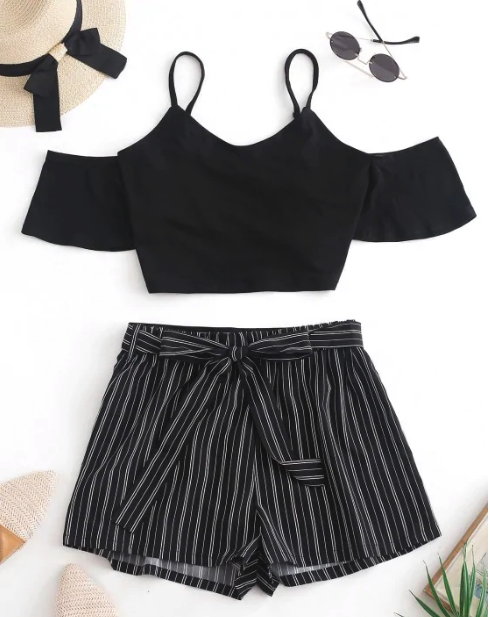 Crop Cami Top And Striped Belted Shorts Set - Black