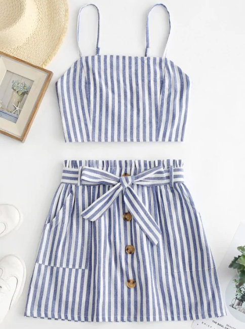 Smocked Striped Top & Belted Skirt Set