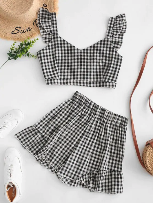 Plaid Ruffle Sweetheart Shorts Set