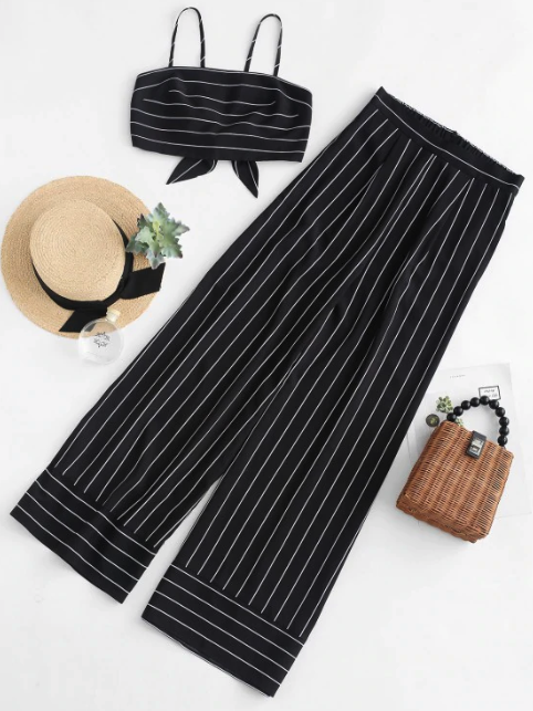 Striped Knotted Top And Wide Leg Pants Set