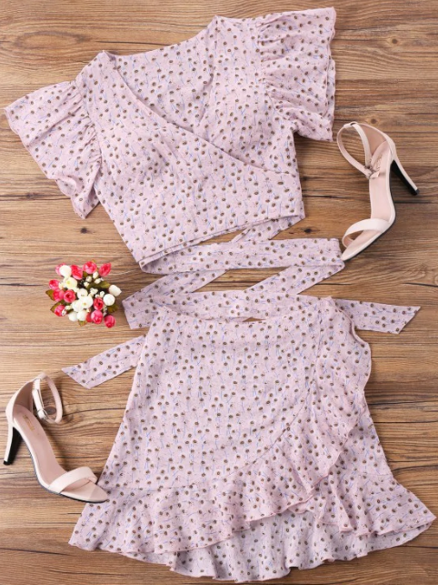 Wrap Top And Skirt Set - Pink